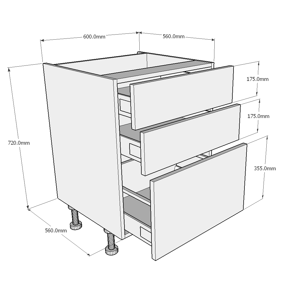 Concept Drawing Kitchen Cabinet: 600mm Pan Drawer Kitchen Base Unit