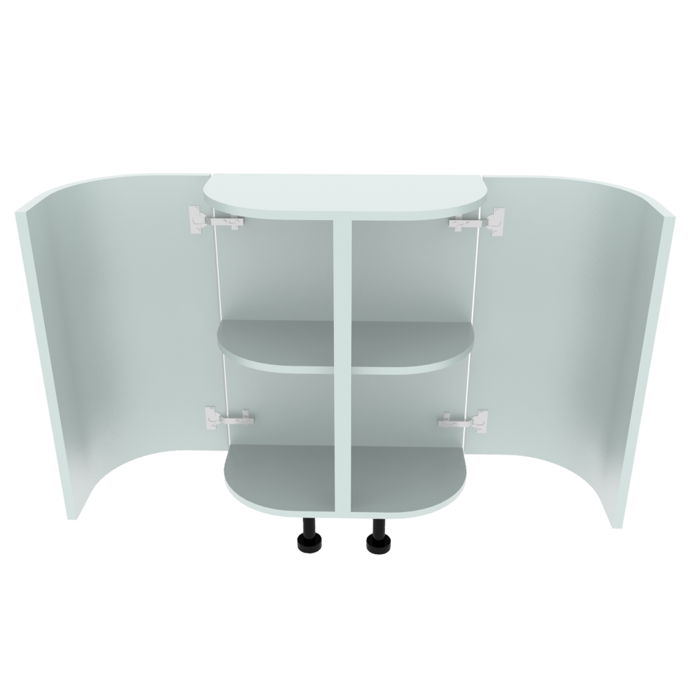 Double Curved Base Peninsular End Unit - 300 x 600mm - (R=191mm)
