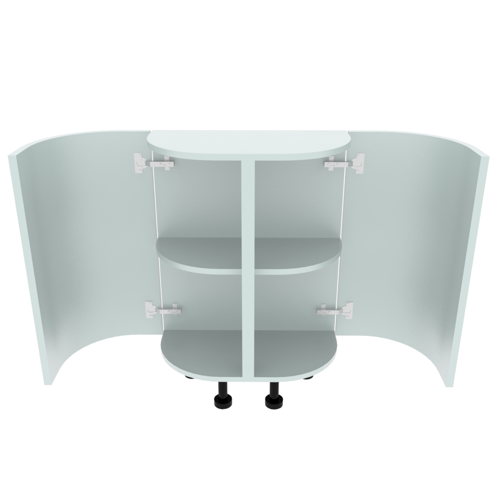 Double Curved Base Peninsular End Unit - 300 x 600mm - (R=214mm)